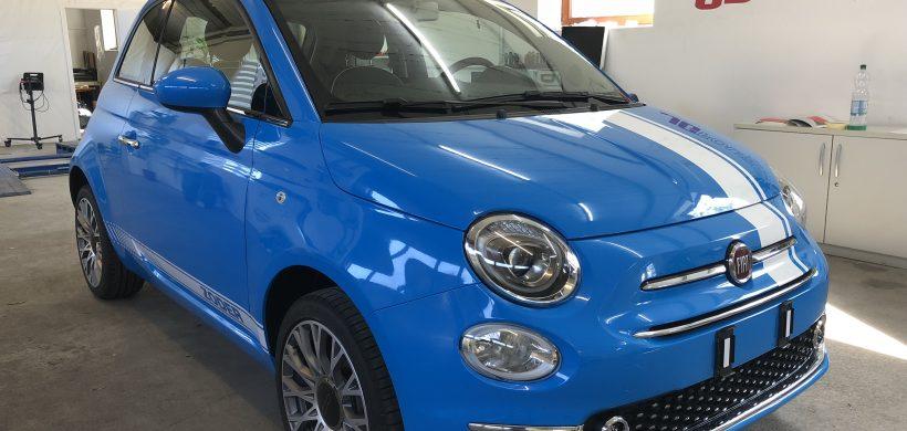 Vollfolierung mit Werbebeschriftung Fiat 500